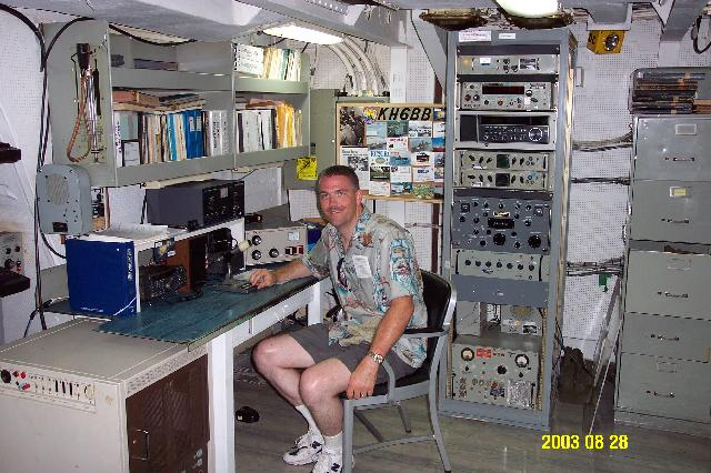 N7EKB visiting the Battleship Missouri, Aug 2003